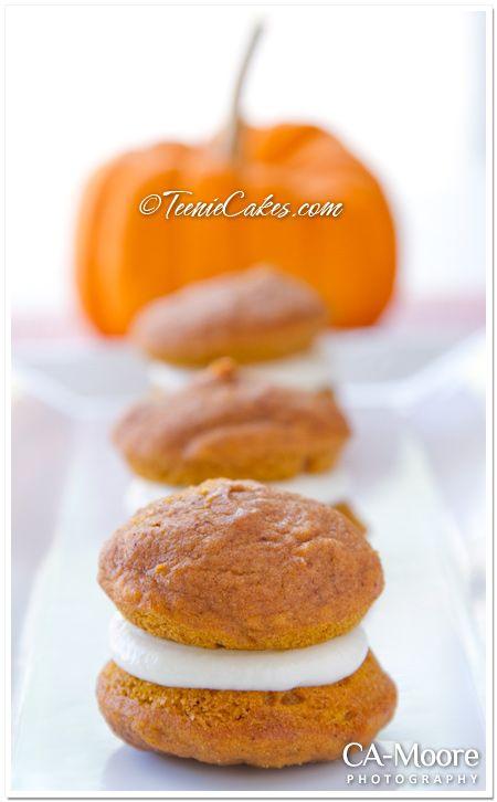 Petite Pumpkin Whoopie Pies with Cream-Cheese Filling from TeenieCakes ...