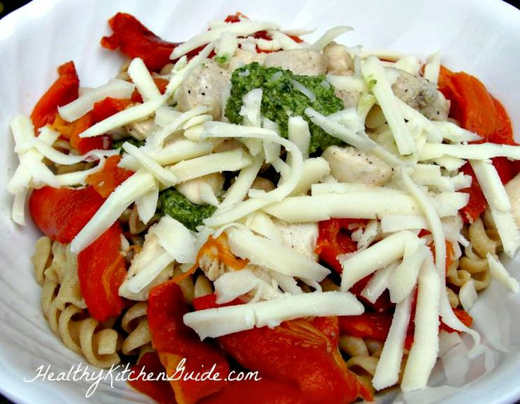 Roasted Red Pepper Pesto Chicken Pasta | Yummy in my Tummy | Pinterest