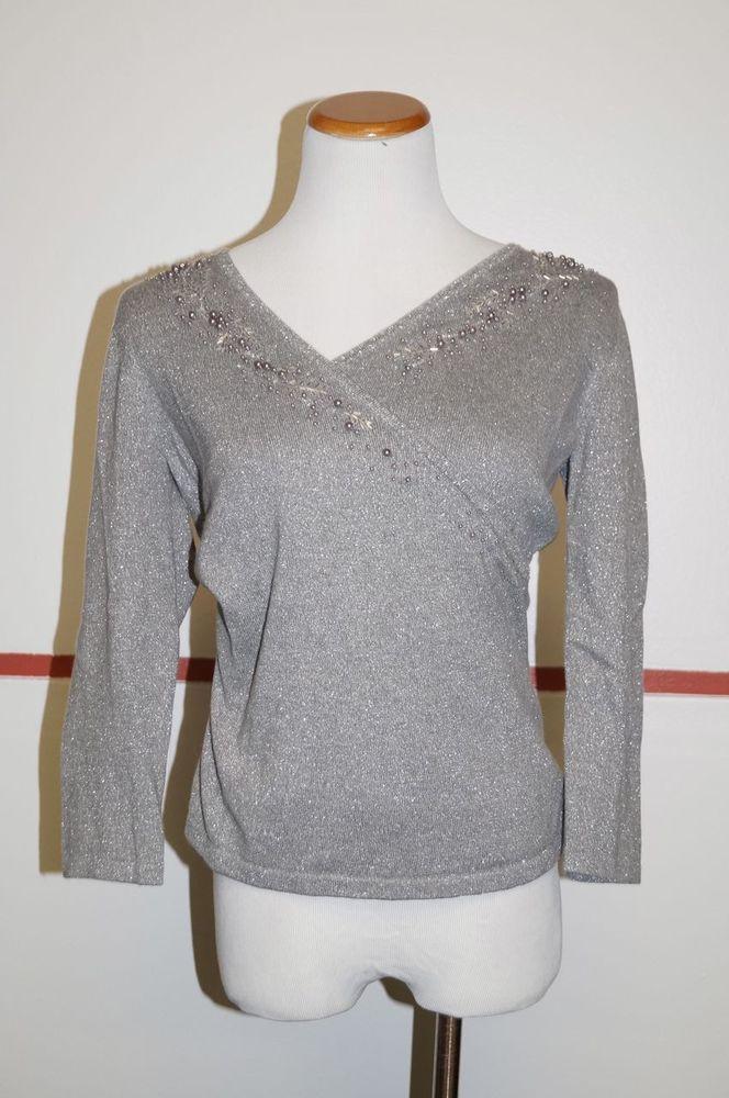 Ann taylor gray cotton 3 4 sleeve v neck embellishments dressy top sz