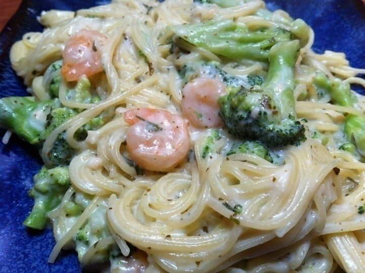 Angel Hair Pasta with Garlic Shrimp and Broccoli Florets