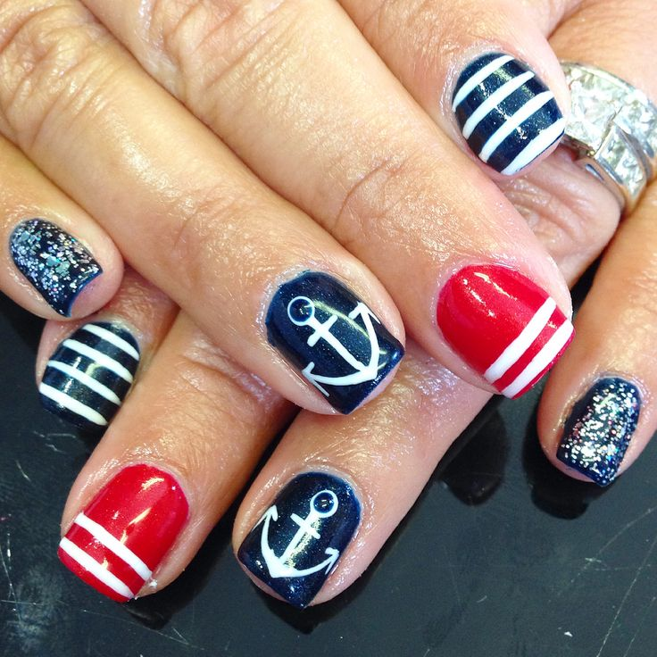 Nails nailart design shellac gel gelish anchor red white blue 4th of