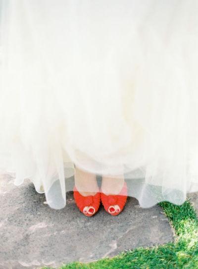 Orange wedding shoes-I always sore I would never wear shoes on my
