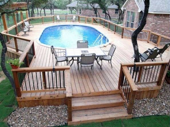 Above Ground Pool Deck Plans Oval Deck Ideas Pinterest
