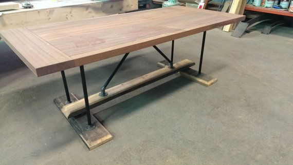 Industrial Farmhouse table Reclaimed heart pine kitchen office conf…