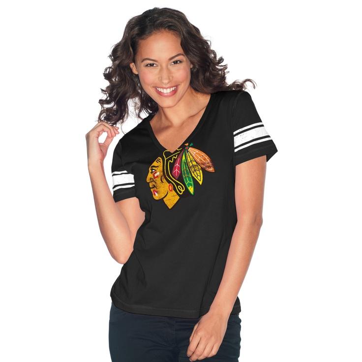 Chicago Blackhawks Ladies V Neck Jersey T Shirt