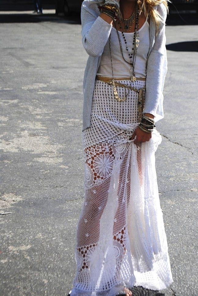 white boho maxi skirt clothes hair make up jewlery