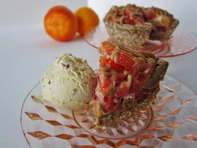 ... Cake: Mini Raw Blood Orange Caramel Pie with Orange Lavender Ice Cream