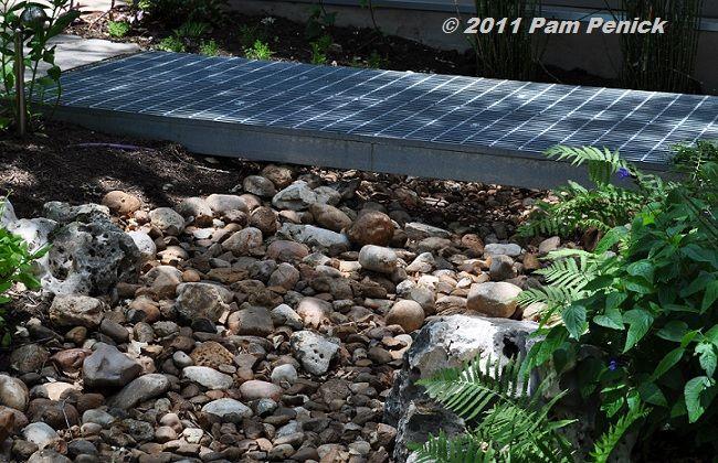 Steel grate bridge over dry stream Garden Pinterest