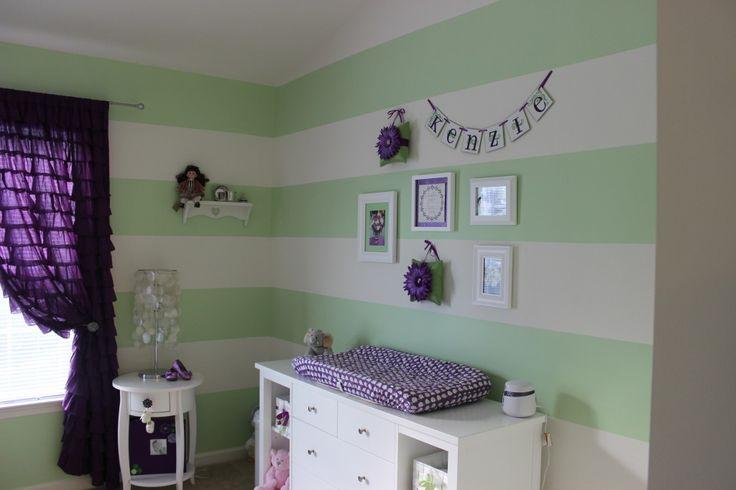 Project Nursery Green And Purple Girl Nursery Room View