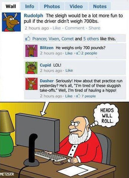 reindeer on facebook, santa social media, santa funny, reindeer comic, cupid dasher blitzen,