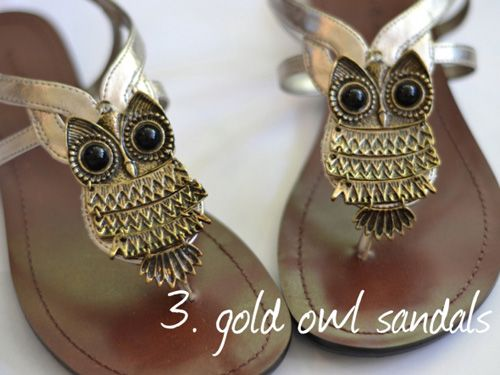 Love these gold owl sandals <3