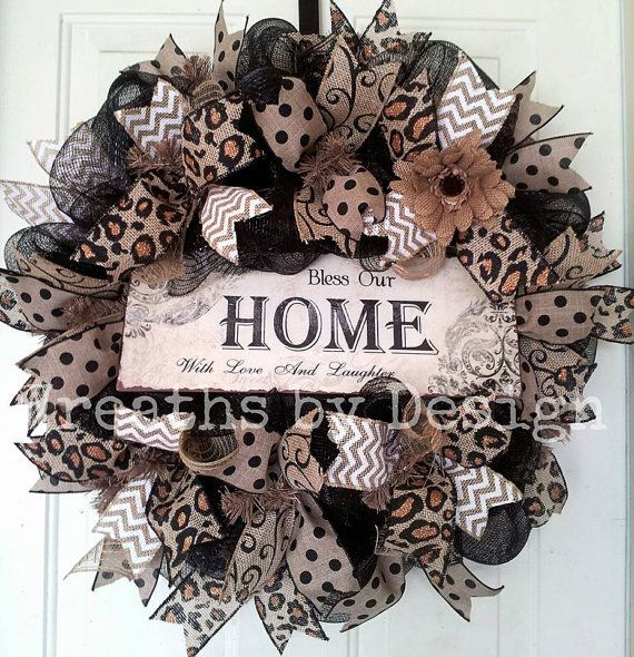 Bless this Home Wreath by WreathsbyDesign1 on Etsy, $75.00 #trendytree #animalprintwreath