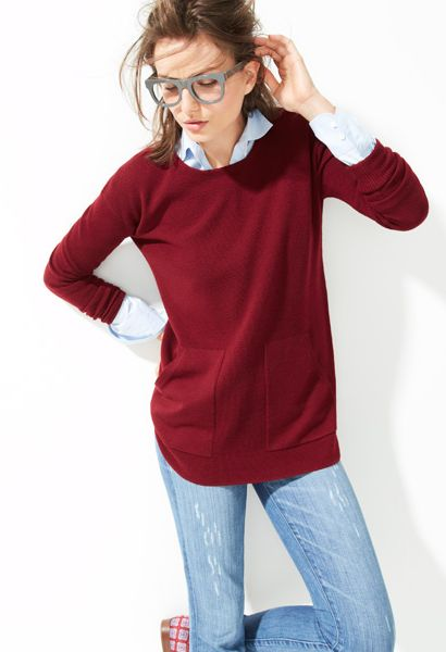 J. Crew Fall 2013: great comfy sweater in rich burgundy, slim-fit jeans, popped shirt collar and thick frames.