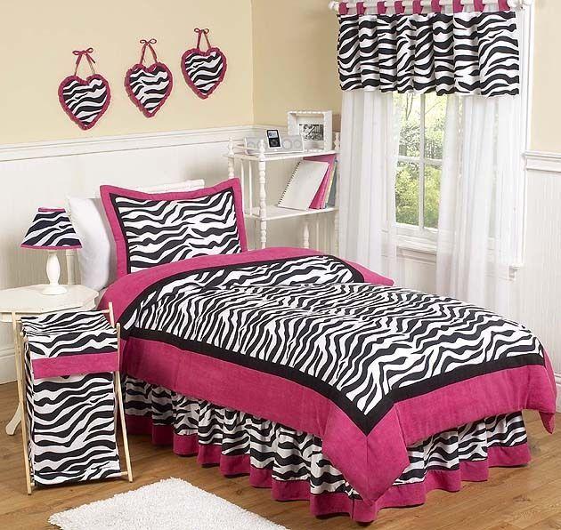 pink zebra print kids full queen size bed bedding comforter set for