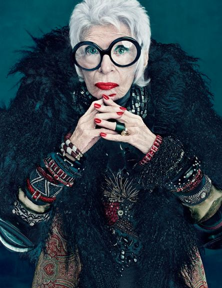 Iris Apfel is by far the most stylish 90 year old lady we can think of.