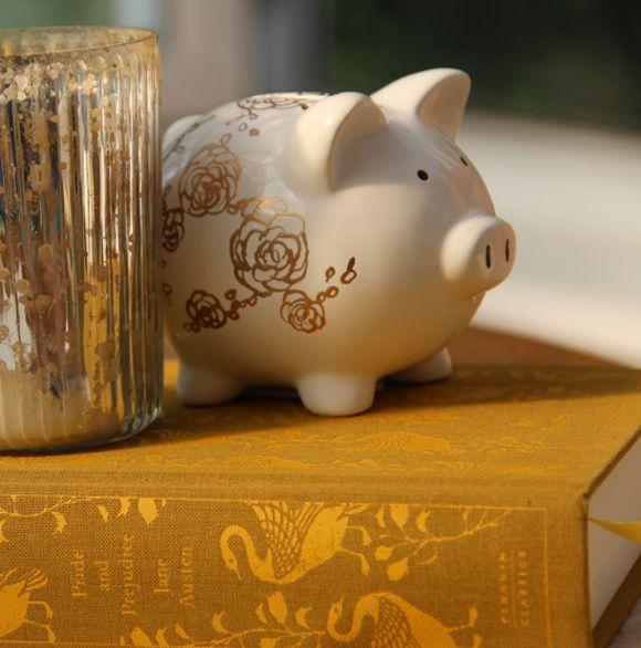 Diy gilded piggy bank crafty is as crafty does pinterest for Piggy bank ideas diy