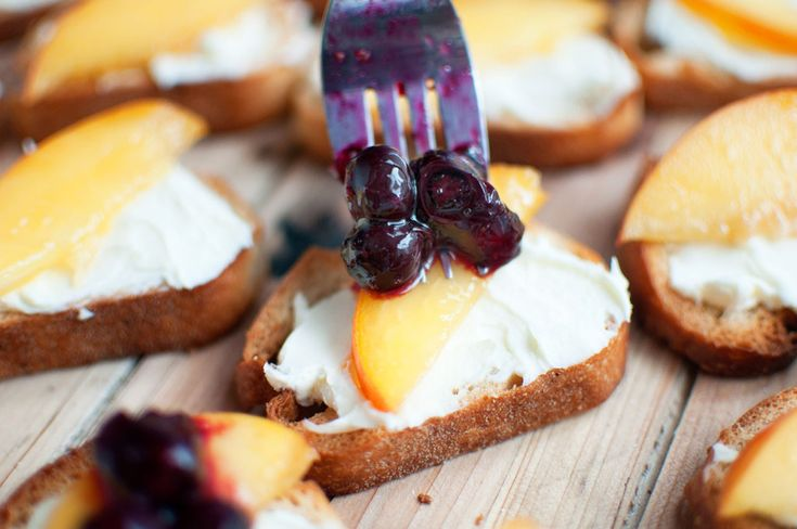 Peach Crostini with Roasted Blueberries | Appetizers & Snacks | Pinte ...