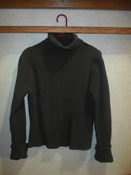 Jill Women s Dark Brown Turtleneck Wide Ribbed Sweater L 100% Cotton
