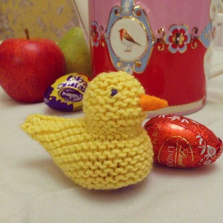 Knitted Chick Egg Cosy Pattern : Knitted chick Creme Egg cosy.