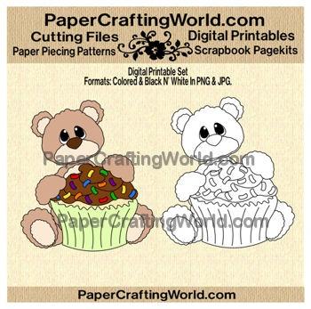 Sweet Bear with Cupcake n' Sprinkles Digital Printable. Direct Link: http://www.papercraftingworld.com/item_882/Bear-w-Cupcake-n-Sprinkles-DS.htm