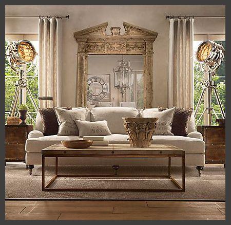 Restoration hardware rolleded arm sofa interior design for Restoration hardware living room furniture
