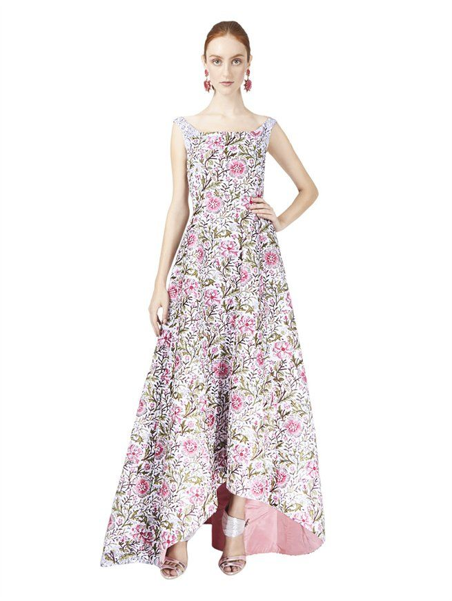 FLORAL EMBROIDERED HIGH-LOW GOWN Oscar de la Renta