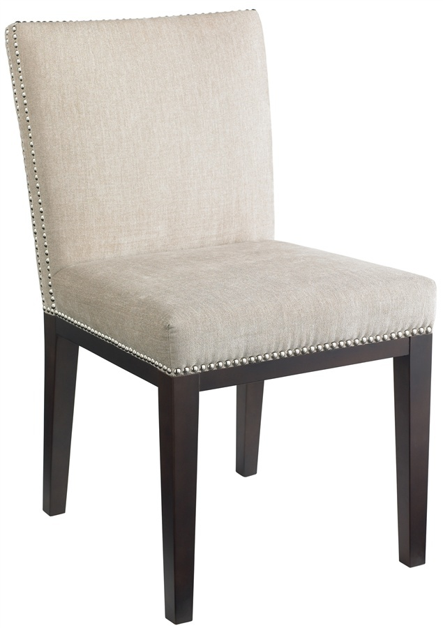 SO proud of my little upholstery project. Nailhead Parsons chairs ...
