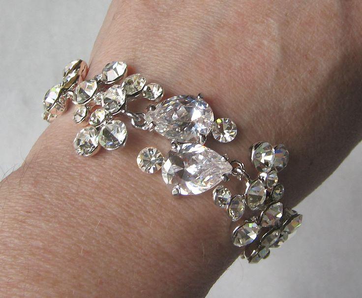 Rhinestone bracelet swarovski crystal bridal bracelet wedding