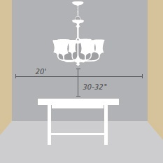 "TIP: In most cases, the bottom of your chandelier should sit approximately 30""-32"" above the table top."
