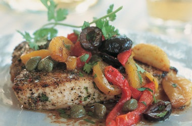 Broiled Swordfish with Browned Butter, Candied Garlic, Roasted Peppers ...