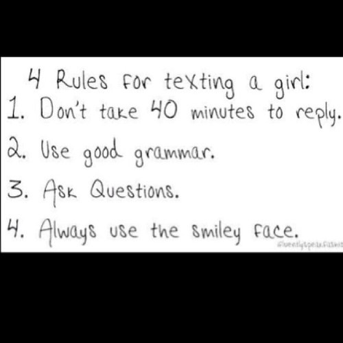 rules texting women