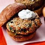 Sesame Seed-Crusted Salmon Burger With Yogurt Sauce | Recipe