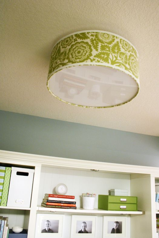 Great idea to dress up a light fixture and fantastic site for organization/decor ideas