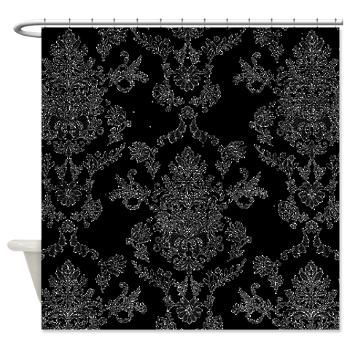 Black and white damask shower curtain unusual things pinterest