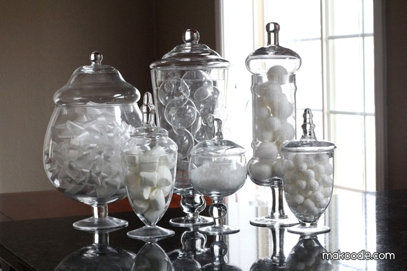 winter decorating with apothecary jars holiday