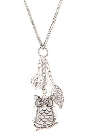 Deb Shops Long #Necklace with Owl Charm and Leaves $8.00