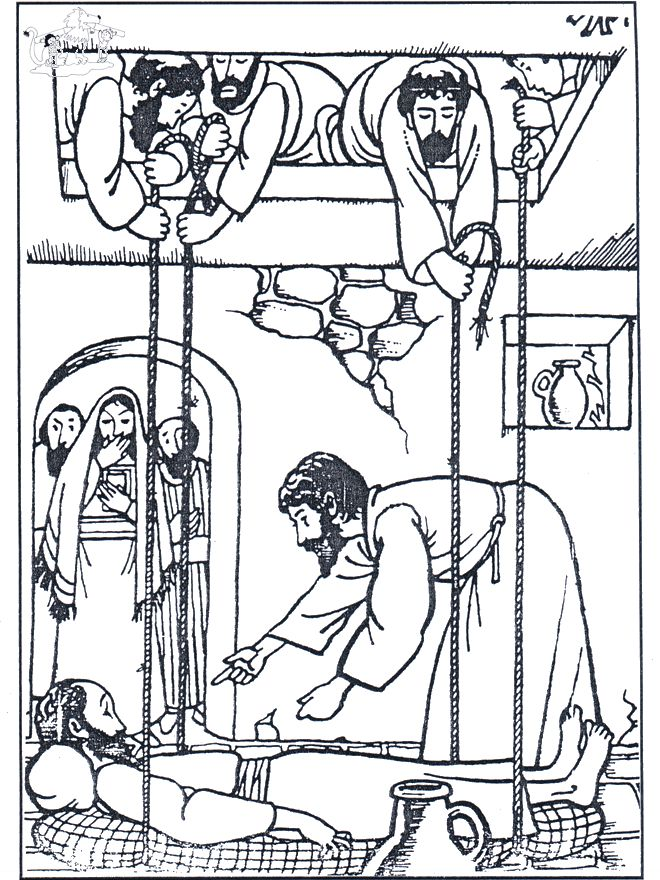 Man lowered through roof coloring coloring pages for Jesus heals paralyzed man coloring page