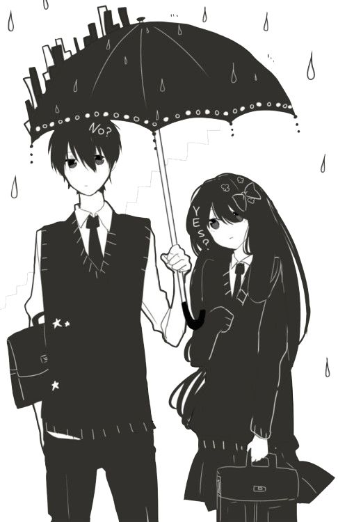 Anime Couple Black And White Wallpaper