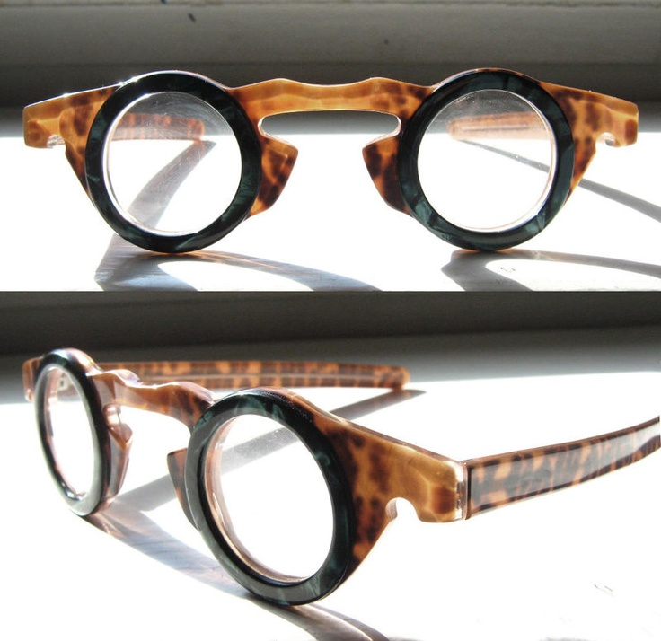 Vintage Odd Eccentric Round Green Tortoise Eyeglass Frames ...