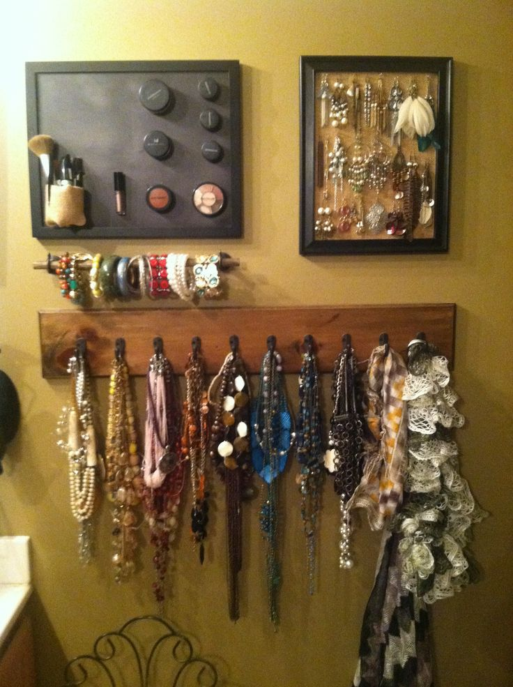 diy jewelry and make up wall organizer bedroom ideas pinterest