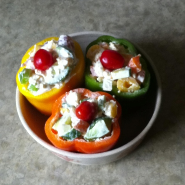 Greek style stuffed peppers: Bell peppers, cucumber, cherry tomato ...