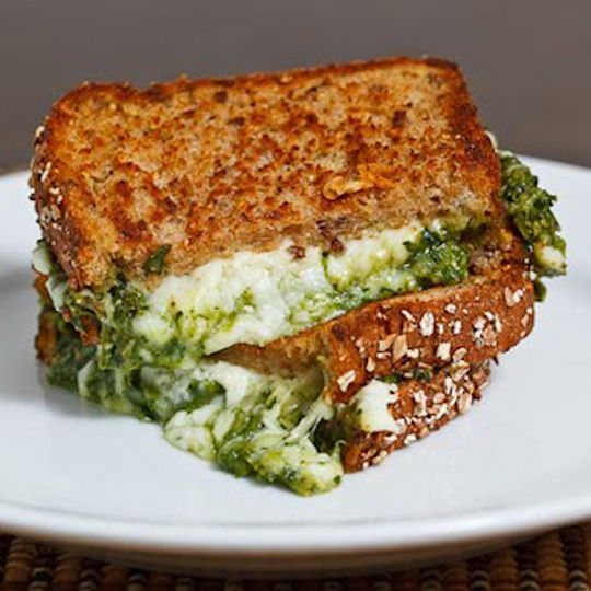 spinach pesto grilled cheese | Food...Pizza & Sandwiches | Pinterest