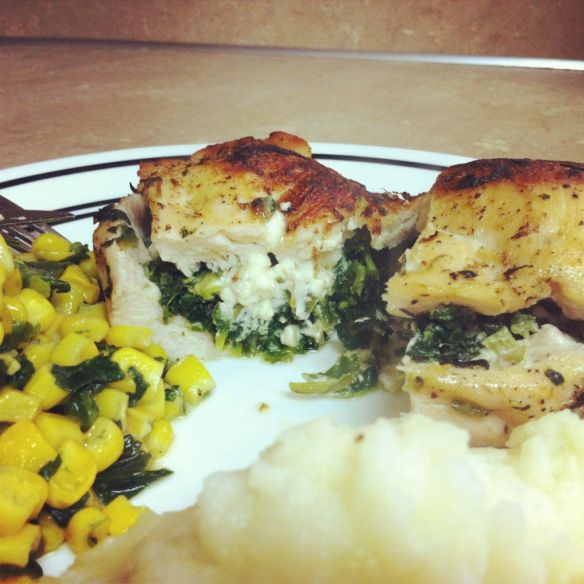 Feta and spinach stuffed chicken | Food for Thought | Pinterest
