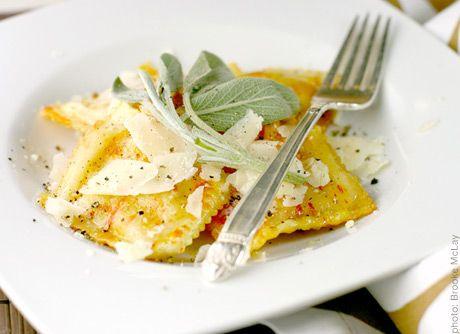 Pumpkin Ravioli with Butter Sage Sauce, Nutmeg & Hazelnuts