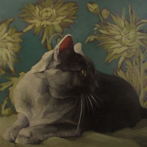 Smoke on Teal gray coco kitty on pattern painting, by artist Diane Hoeptner