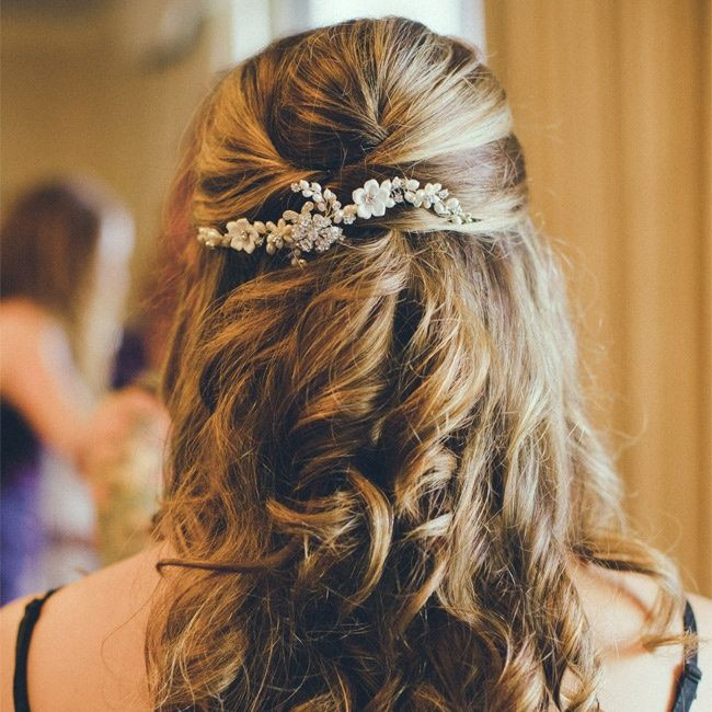 Loose curls pulled into a half pony pony tail with jeweled flower comb // Sherry Hammonds Photography // http://www.theknot.com/weddings/album/136011