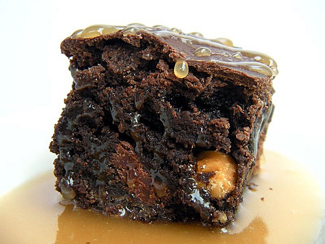 chocolate brownies ginger ice cream salted butter caramel sauce dark ...