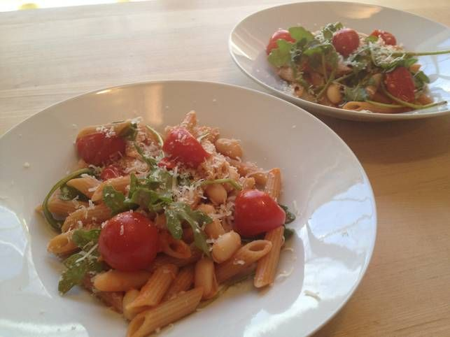 whole grain penne pasta with greens amp beans from skinny ms