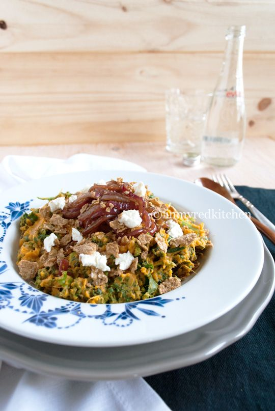 Sweet potato and kale mash with caramelized onion and goat cheese