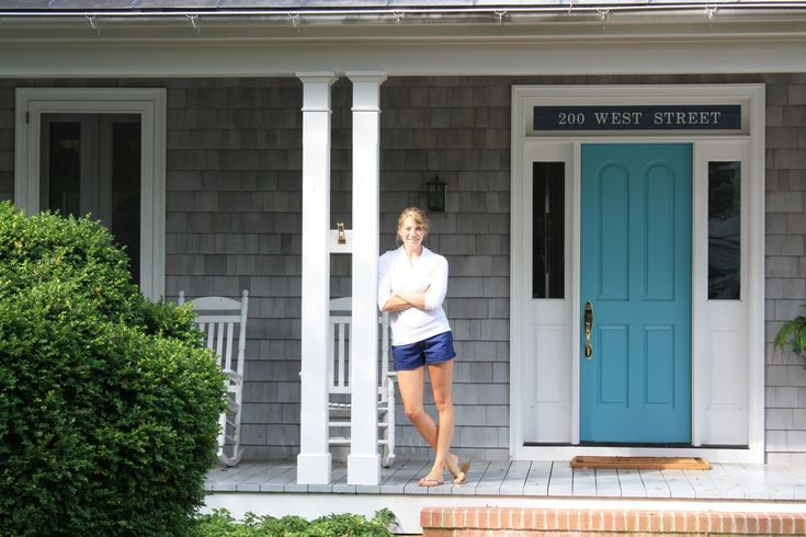 Turquoise Door With Gray House Exterior Paint Color